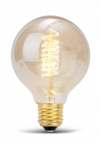Lightbulb spherical with carbon filament E27/40W h.12xdia.8cm